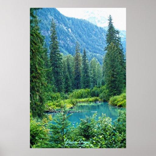 Lago ideal Alaska, los E.E.U.U. y foto boscosa de  Póster