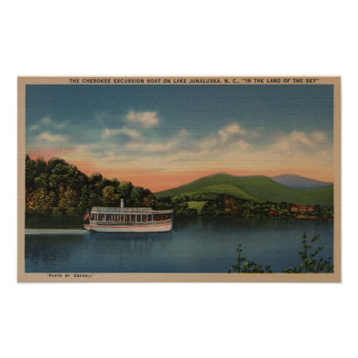 Lago Junaluska, NC - vista del barco cherokee Poster