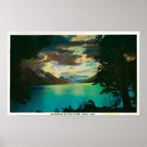 Lago Kenai, Alaska con la reunión de la tormenta Póster
