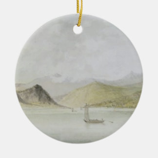 Lago Maggiore (w/c, pen, ink and graphite on paper Double-Sided Ceramic Round Christmas Ornament