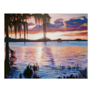 Lago Maitland en el arte del poster de la puesta d
