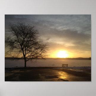 "Lago Massabesic ""salida del sol de la primavera "" Poster"