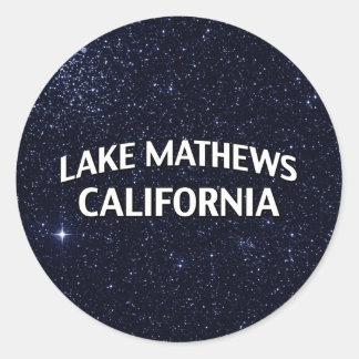 Lago Mathews California Etiqueta Redonda