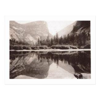 Lago mirror, vintage del parque nacional de tarjeta postal