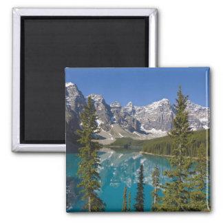 Lago moraine, canadiense Rockies, Alberta, Canadá  Imán Cuadrado