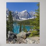 Lago moraine, canadiense Rockies, Alberta, Canadá Póster