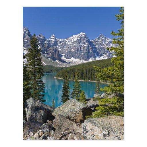 Lago moraine, canadiense Rockies, Alberta, Canadá Postal