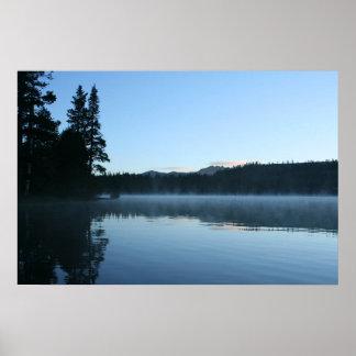 Lago mountain, amanecer, niebla poster