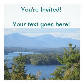 """Lago mountain de New Hampshire Invitación 5.25"""" X 5.25"""""""