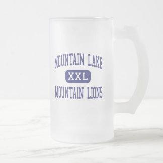 Lago mountain - leones de montaña - alto - Redding Taza Cristal Mate