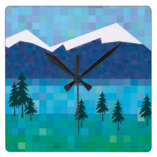 Lago mountain reloj cuadrado