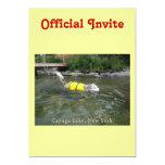 Lago NY Cayuga de la natación del perro Invitación 12,7 X 17,8 Cm