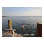 Lago NY Cayuga del agua del Handstand Poster