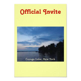 """Lago NY Cayuga del cielo azul de la puesta del sol Invitación 5"""" X 7"""""""
