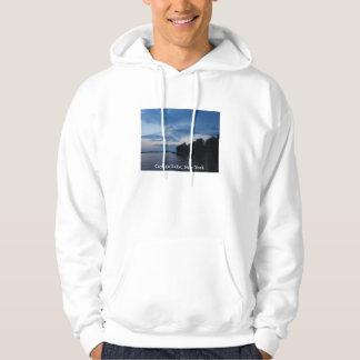 Lago NY Cayuga del cielo azul de la puesta del sol Suéter Con Capucha
