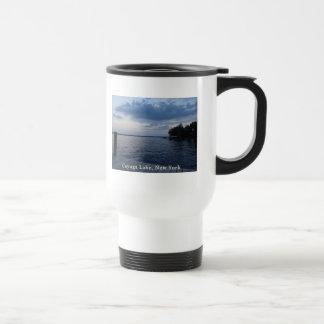 Lago NY Cayuga del cielo azul de la puesta del sol Tazas De Café