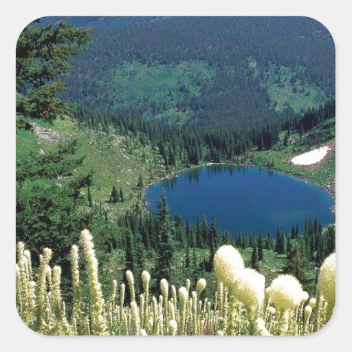 Lago ocultado agua Montana Pegatina Cuadrada