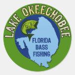 Lago Okeechobee, pesca de la lubina de la Florida Pegatina Redonda