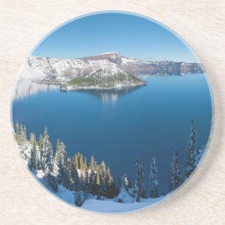 Lago Oregon central del sur crater en invierno Posavasos Manualidades