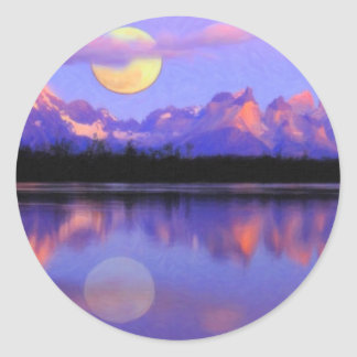 Lago Pehoe in Torres del Paine, Chile Crayons Classic Round Sticker