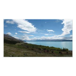 Lago Pukaki, montañas meridionales Nueva Zelanda Impresión Fotográfica