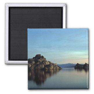 Lago pyramid, puesta del sol, Nevada Imán Cuadrado