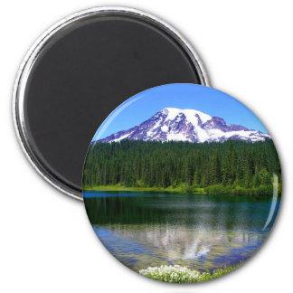 Lago reflection el Monte Rainier WA los E E U U Iman De Frigorífico