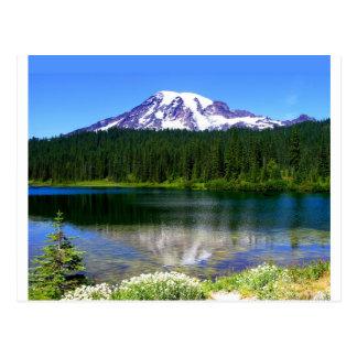Lago reflection, el Monte Rainier, WA, los Tarjeta Postal