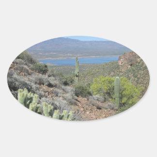 Lago roosevelt del monumento nacional de Tonto Pegatina Ovalada