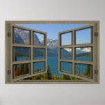 Lago st. Mary a través de un poster de la ventana