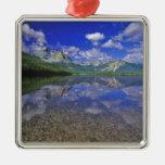 Lago stanley en las montañas del diente de sierra adorno cuadrado plateado