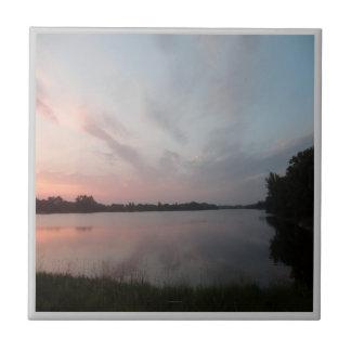 Lago sunset azulejo cuadrado pequeño