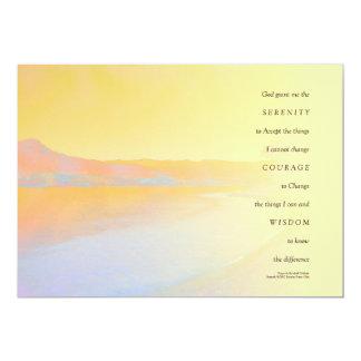 Lago sunset del rezo de la serenidad invitación 12,7 x 17,8 cm