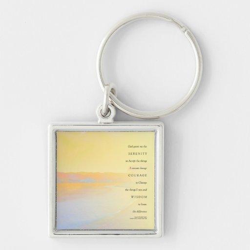 Lago sunset del rezo de la serenidad llavero personalizado