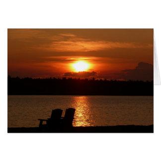 Lago sunset (espacio en blanco dentro) tarjeta pequeña