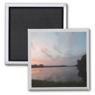 Lago sunset imán cuadrado