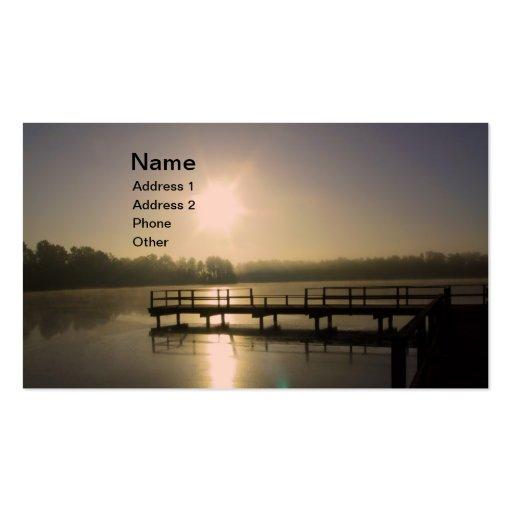 Lago sunset tarjetas de visita