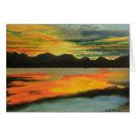 Lago sunset tarjeton