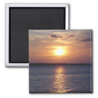 Lago sunset (vertical) imán cuadrado