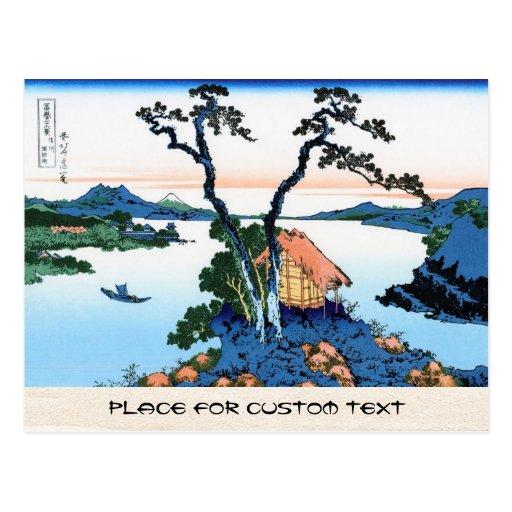 Lago Suwa en la provincia de Shinano Hokusai Tarjeta Postal