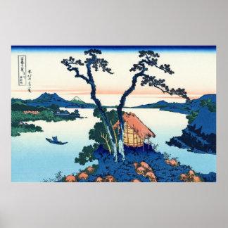 Lago Suwa, por Katsushika Hokusai Póster