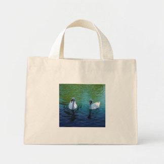 Lago swan - bolso bolsa de tela pequeña