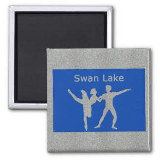 Lago swan imán cuadrado