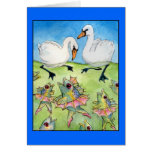 Lago swan, tarjeta de felicitación de baile de los