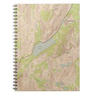 Lago Tenaya, mapa topográfico de Yosemite Libros De Apuntes Con Espiral