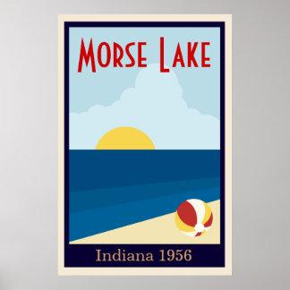 Lago vintage o poster de encargo de la playa