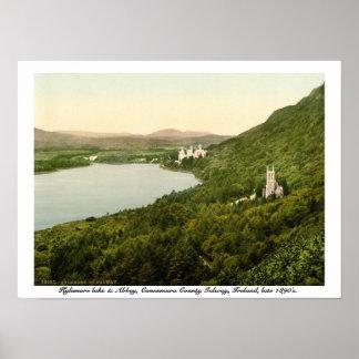 Lago y abadía, condado Galway Irlanda Kylemore Póster
