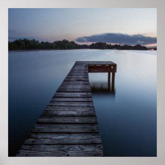 Lago y Barco-muelle Ozarks Póster