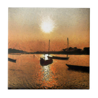 Lago y barcos en la puesta del sol azulejo cuadrado pequeño