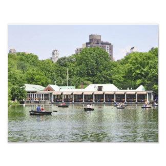 Lago y casa barco central Park Fotografía